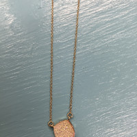 Gold Square Druzy Necklace Set