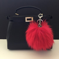 Large size Pompon bag charm pendant Fox Fur Pom Pom keychain in deep red color tone