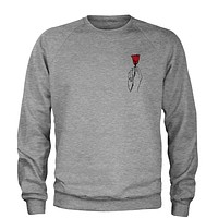 Hand Holding Rose (Pocket Print) Adult Crewneck Sweatshirt