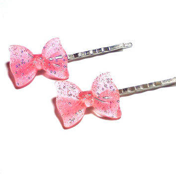 Light Pink Glitter Bow Bobby Pins Cabochon Hair Pins Party Bachelorette Accessories