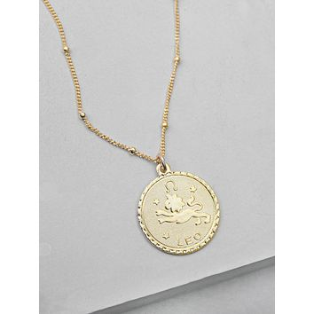 Large Zodiac Necklace - Gold