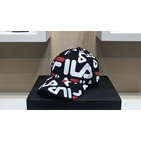 FILA 2018 street fashion classic embroidered letter cap casual sports baseball cap Black