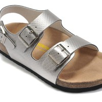 Birkenstock Women Men Silver Casual Sandals Shoes