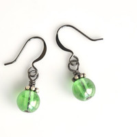 Green dangle earrings, glass drop earrings, Czech glass beads, green earrings, delicate earrings, women's jewelry, vintage inspired