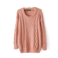 Candy color twist round collar pullovers