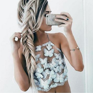 Elegant women lace crop top 2016 summer party white backless short halter tops High neck girls cami tank top