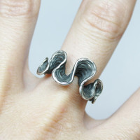 """Sterling silver ring """"aguas negras"""" - natural organic texture - jewelry design"""