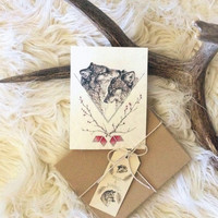 Wolf Valentine's Day Cards- boxed set of 6 blank cards with envelopes