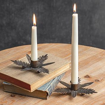 Galvanized Leaf Candle Holder - Box of 2