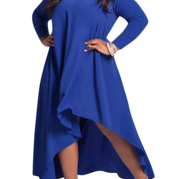 Blue V Neck Long Sleeve High Low Plus Dress