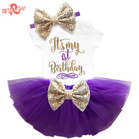 Newborn Baby Girl Clothing Sets My Little Girl 1st Birthday Outfits Baby Romper+Skirt+Headband Infant Party Costume Kids Clothes