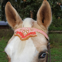 Gold Tangerine Fringe Seed Beaded Equine Browband -  Native American Style Horse Brow Band - American Indian Style Tack
