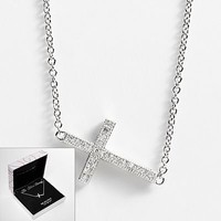 The Silver Lining Silver Plated Cubic Zirconia Sideways Cross Necklace