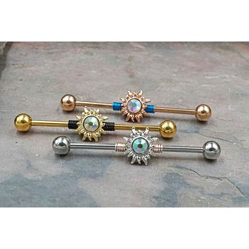 Aurora Borealis Sun Gold, Rose Gold, Silver Industrial Barbell 16g or 14g