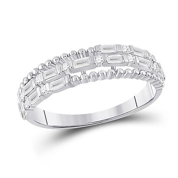 14k White Gold Baguette Diamond Fashion Band Ring 3/8 Cttw