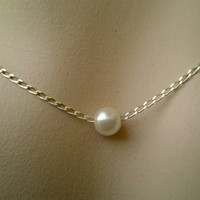 White Freshwater Pearl Necklace - gift for her, June, Birthstone, Birthday,Christmas gift, sister/ mom, girl,wife,woman