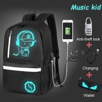 Anime Backpack School Namvitae Teenager Boys Luminous  USB Charge 15.6 inch Laptop Computer Backpacks Anti-theft Student School Backpack AT_60_4