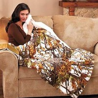 """White In The Woods Camo Plush Sherpa Throw Blanket Soft Warm Sofa Bed 50""""x70"""""""