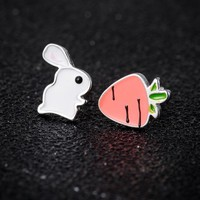 Bunny Rabbit Carrot Stud Earrings