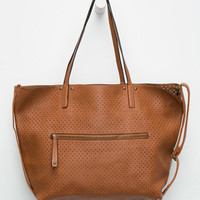 Under One Sky Perforated Tote Bag In A Bag Cognac One Size For Women 26316340901