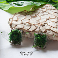 Forest nature natural fairy earrings jewelry. Green fairy earrings jewelry. Fairy wings earrings jewelry. Tree fairy earrings jewelry