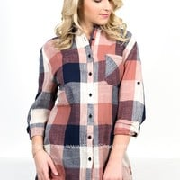 Peachy Sweet Plaid Tunic