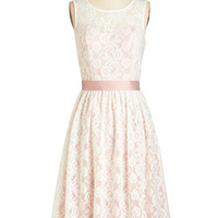 Vintage Inspired Long Sleeveless A-line Lacy in Love Dress in Blush