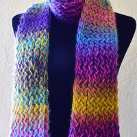 funky knit colored scarf, bright scarf, handmade scarf, women's accessories