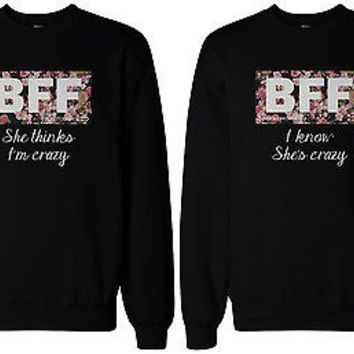 Cute Matching Sweaters for Best Friends - Crazy BFF Floral Print Sweatshirts