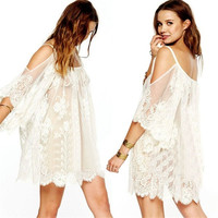 Boho Beach Sexy Strap Backless Lace Floral Crochet Mini Dress Loose Tops_TQ = 4904958916