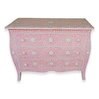 Curved French Provincial Style Bone Inlay Dresser Chest Of Drawers In Pink 42 Inch Handmade