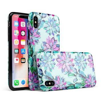 Watercolor Cactus Succulent Bloom V14 - iPhone X Swappable Hybrid Case