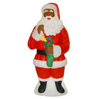 African American Santa Claus Light Up Yard Christmas Decoration Plastic