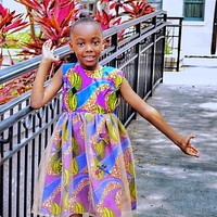 Kaylin African Print Girl's Dress With Tulle