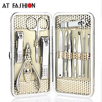 12pcs Stainless steel Manicure Set Nail Care Tools Pedicure Nail Clipper Kit with Mini Finger Nail Cutter Clipper File Scissor