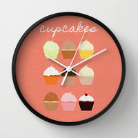 Baker's Joy Collection: Cupcakes Wall Clock by Rebecca Allen