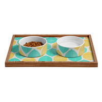 Allyson Johnson Summer Leaves Pet Bowl and Tray