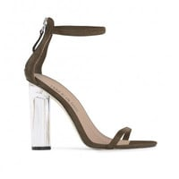 Barely There Lucite Heels Olive Green