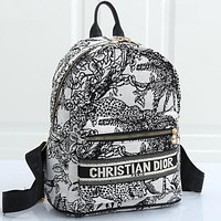 Christian Dior embroidered letters pattern ladies shopping backpack school bag Dackpack
