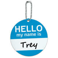 Trey Hello My Name Is Round ID Card Luggage Tag