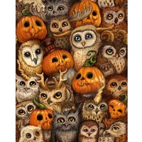 5D Diamond Painting Owls and Pumpkins Kit