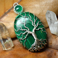 Malachite Tree of Life Pendant sterling silver gallery Bezel Set Chalcedony Green Wire Wrapped Metaphysical Power Stone Tree Necklace