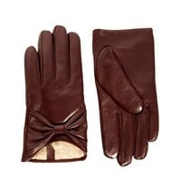 ASOS Leather Bow Gloves at asos.com