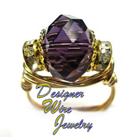 DWJ0251 Gorgeous Faceted Amethyst Crystal Gold Wire Wrap Ring All Sizes