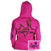 Country Life Outfitters Pink Deer Kiss Heart Love Hunt Bright Hoodie