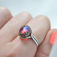 Dragons Breath Ring, Sterling Silver Fire Opal Ring, Mexican Opal Cocktail Ring, Czech Glass Opal Ring