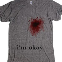 Im Okay Blood Wound T Shirt-Unisex Athletic Grey T-Shirt