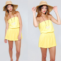 Vintage 90s Romper Yellow Strapless TERRY CLOTH Playsuit  Beach Cover Up Shorts Small