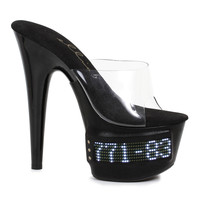 Pointed Stiletto Slides With  Programmable LED Panels- 7 Inch Heel