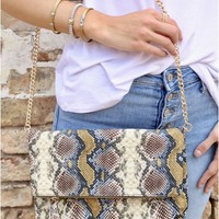 Fold Over Clutch/ Cross Body With Chain Strap And Tassel Snake Multi